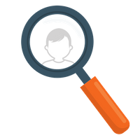 magnifying glass and an image of a person in the center