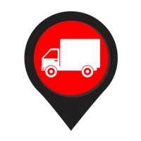 truck icon with a black arrow, red center and white truck