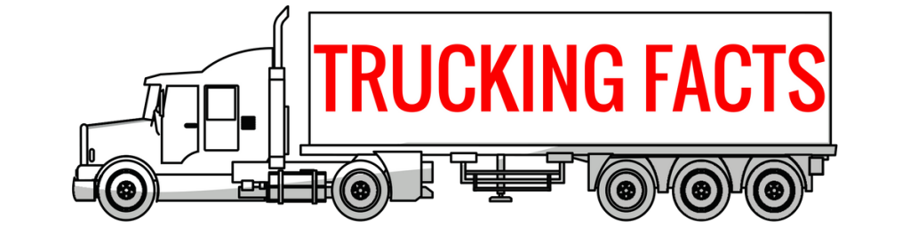 a white icon with the words trucking facts on the best in red font